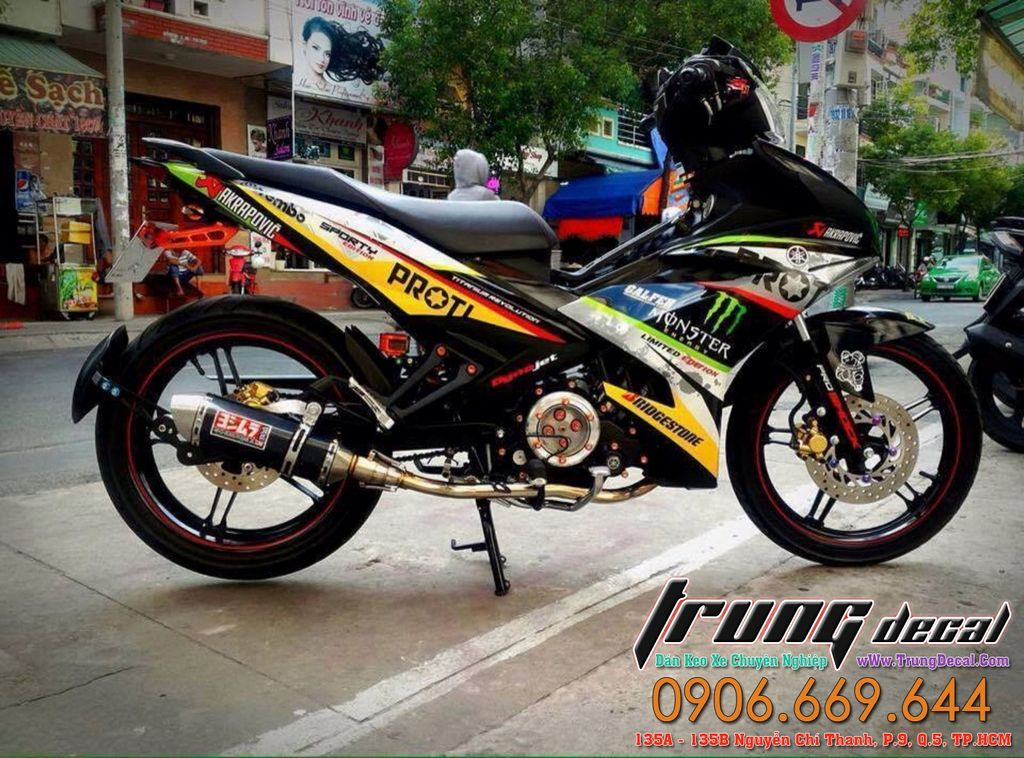 Yamaha Tem Xe Exciter 150 Phoi Mau Xanh Den Che Do Loc May Trong Suot